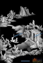 综合-桃花源-2-琴棋书画浮雕灰度图