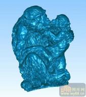 猴子-圆柱雕刻图案