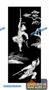 百子图001-童子舞剑-01-百子图灰度图案