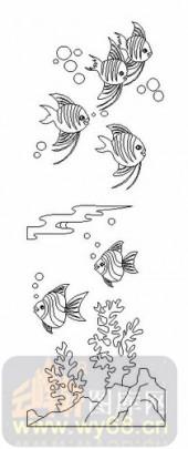 艺术玻璃图-08四扇门(4)-热带鱼-00123