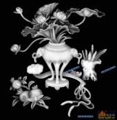 多宝格-荷花石榴-013-多宝格灰度图案