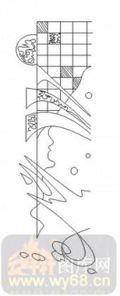 喷砂玻璃图库-06四扇门(2)-抽象线条-00037