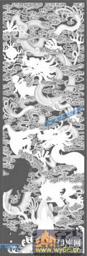 竖-蟠龙-086-龙凤精雕灰度图