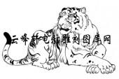 虎1-矢量图-卧虎藏龙-23-虎雕刻图案