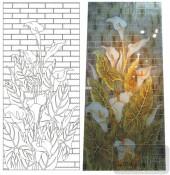 2011设计艺术玻璃刻绘-喇叭花-喷砂玻璃