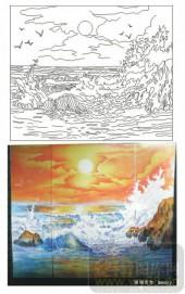 2011设计艺术玻璃刻绘-海阔天空-雕刻玻璃图案