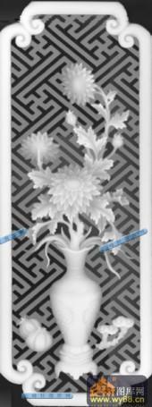 01-葵花-024-花鸟雕刻灰度图