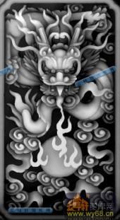 02-龙纹-019-龙凤浮雕灰度图