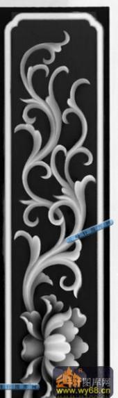办公桌002-花藤-075-办公桌精雕灰度图
