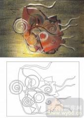装饰玻璃-肌理雕刻系列1-抽象鱼-00107