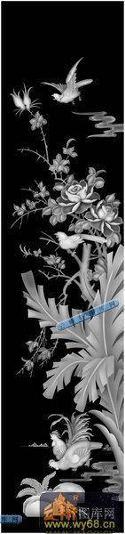 01-莺啼燕语-053-花鸟浮雕灰度图