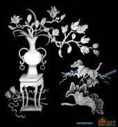 四季花1-荷叶-003-四季花浮雕灰度图