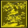 山茶鸟椅靠背板-明清家具精雕图案