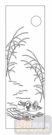 04花草禽鸟-鸳鸯-00012-雕刻玻璃