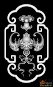 蝙蝠 云纹 花纹-灰度雕刻图