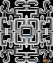 其它图-传统花纹-007-多宝格浮雕灰度图