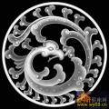 草凤凰 花纹 圆-浮雕图案
