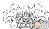 100个中国传统吉祥图-矢量图-招财蝙蝠-B-002-电脑雕刻路径图