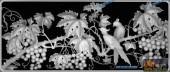 03-葡萄-084-花鸟灰度图案