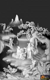 八仙多宝格-汉钟李-韩湘子-八仙浮雕灰度图