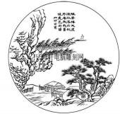 09年3月1日第一版画山水-矢量图-小山村-2-山水雕刻图片