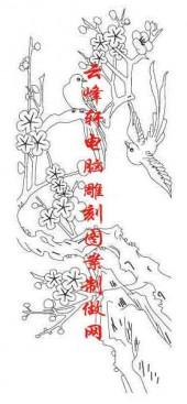 梅兰竹菊-白描图-梅花 鸟-mlxj052-梅兰竹菊线描图