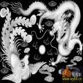 龙凤戏珠 云-电脑雕刻图
