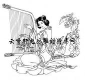 中国国画白描仕女3-矢量图-86刘采春-中国传统仕女图