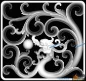 草龙-团龙-083-龙凤灰度图