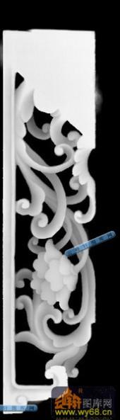 多宝草边-透明小插角-多宝格精雕灰度图