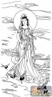 观音-白描图-19慈航大士-观音菩萨国画白描