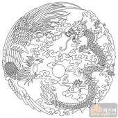 凤-白描图-二龙戏珠-huangf025-凤图片