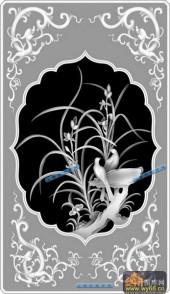 04-兰花草-085-花鸟精雕灰度图