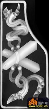 八宝007-蓝采和-八宝3-雕刻灰度图