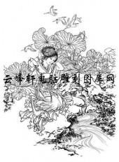 锦瑟年华-矢量图-3西施浣纱-中国国画仕女