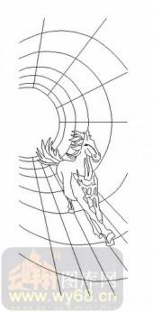 艺术玻璃-11门窗组合-骏马-00038