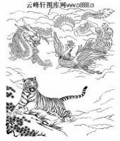虎第五版-矢量图-龙虎凤-42-虎雕刻图案