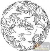 100个中国传统吉祥图-矢量图-金鱼莲花-B-023-路径图