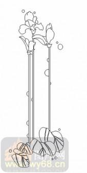 玻璃雕刻-08四扇门(4)-艺术花-00069