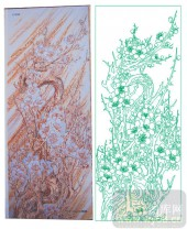 2011设计艺术玻璃刻绘-梅花1-雕刻玻璃