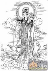 观音-白描图-56净水观音-6-观音菩萨雕刻图片