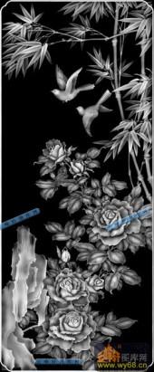 04-花团锦簇-015-花鸟灰度图