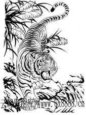虎第四版-矢量图-麟角虎翅-17-虎雕刻图案