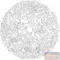 龙-白描图-二龙戏珠-long1-传统龙图案