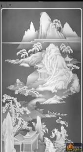 八仙图-云山缭绕-744-八仙过海灰度图