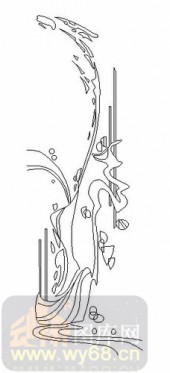 雕刻玻璃图案-08四扇门(4)-抽象图案-00051