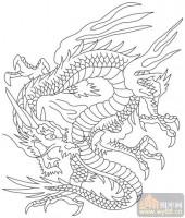 龙-白描图-龙潜凤采-long148-中国白描龙