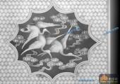 综合-仙鹤-06-琴棋书画精雕灰度图
