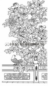 工笔牡丹精选画集-矢量图-4天香染醉-牡丹路径图