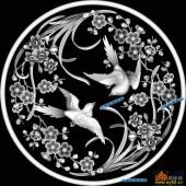 圆盘雕图灰度图-023-花鸟-034-圆盘雕图灰度图